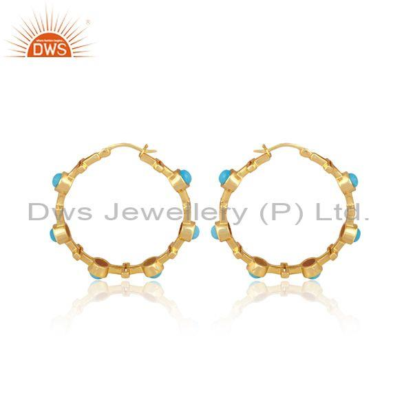 Turquoise set gold on sterling silver round hoop earrings