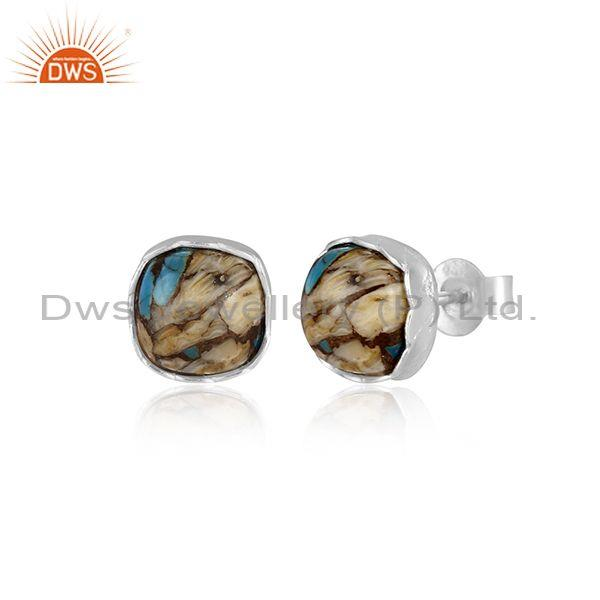 Mojave copper oyster turquoise fine 925 silver earrings