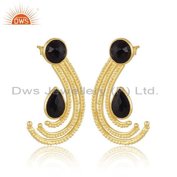 Black onyx and rainbow moon stone gold on silver earrings