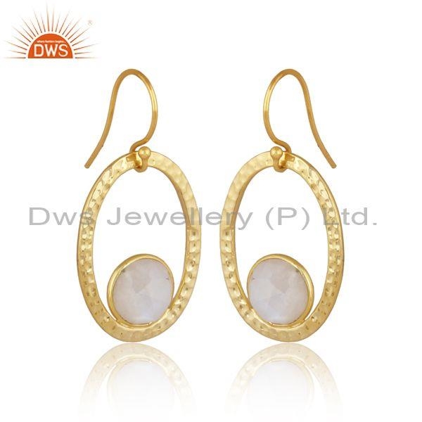 Round rainbow moon stone set gold on silver oval earrings
