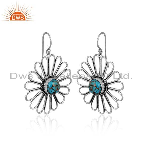 Mojave copper turquoise set oxidized silver floral earrings