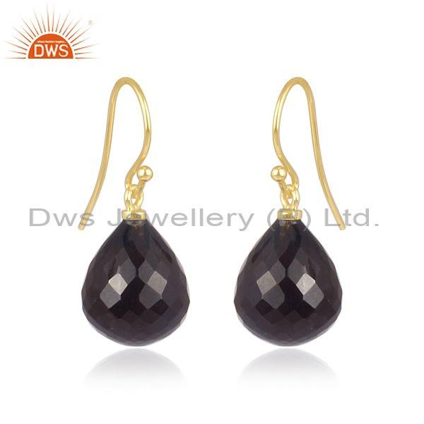 Smoky gold on 925 sterling silver classic statement earrings