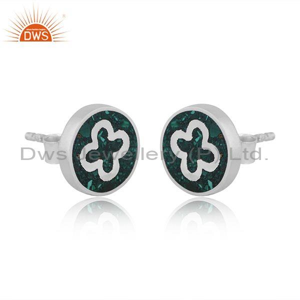 Malachite coin set sterling silver floral design earrings