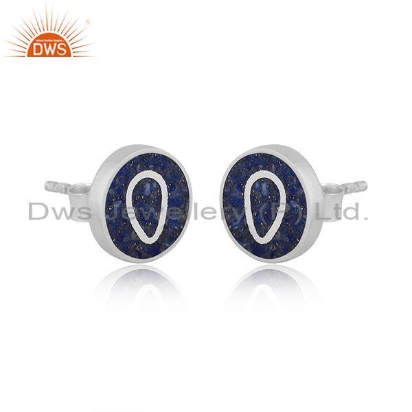 Lapis coin set sterling silver abstract designer earrings