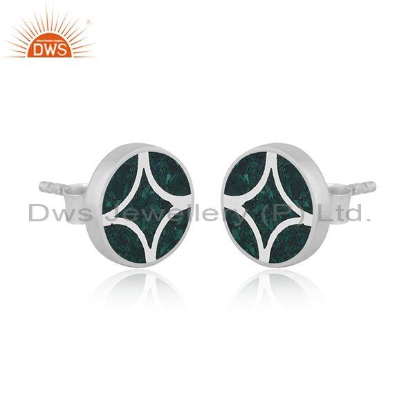 Malachite coin set sterling silver abstract design earrings