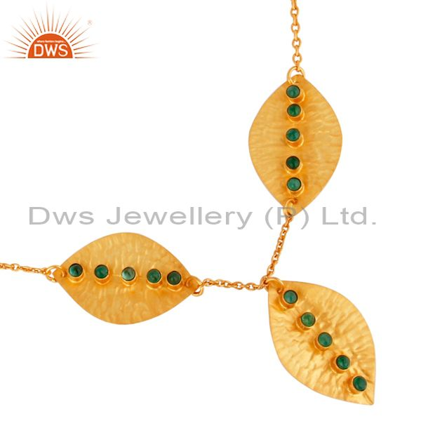 Exporter Leaf Design Gold Plated 925 Silver Emerald Gemstone Necklace Jewelry
