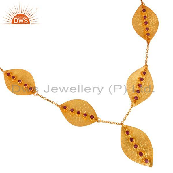 Exporter Handmade Natural Ruby Gemstone Sterling Silver Necklace With Gold Plated