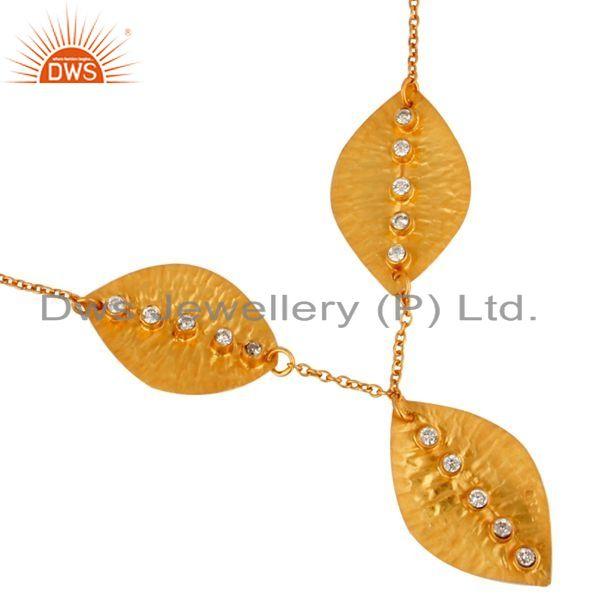 Exporter White Zircon Gold Plated Sterling Silver Leaf Necklace Manufacturers