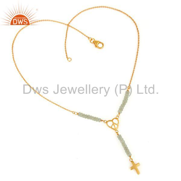 Exporter Gold Plated Sterling Silver Peace Sign Charm Faceted Chrysoprase Beads Necklace