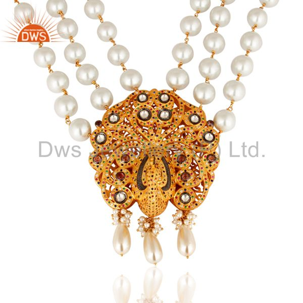 Exporter South Indian Traditional Pearl 22K Gold Plated Silver Peacock Design Necklace