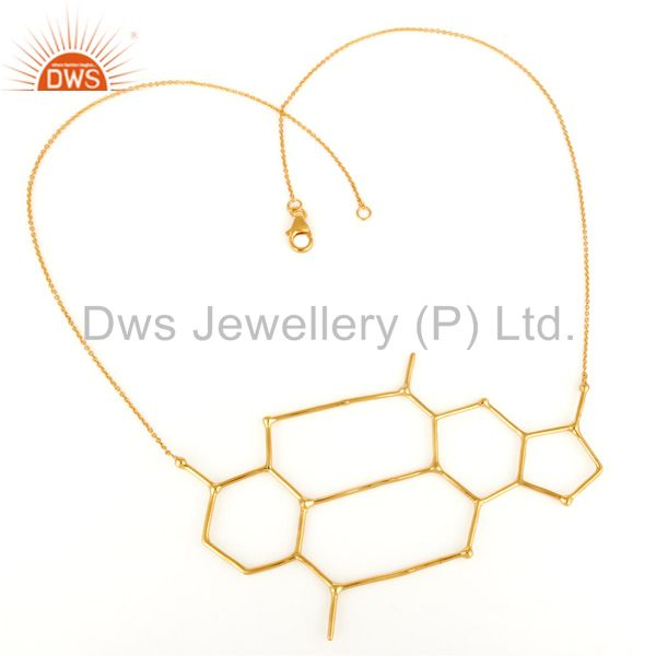 Exporter 14K Yellow Gold-Plated Sterling Silver Wire Unique Wire Design Chain Necklace