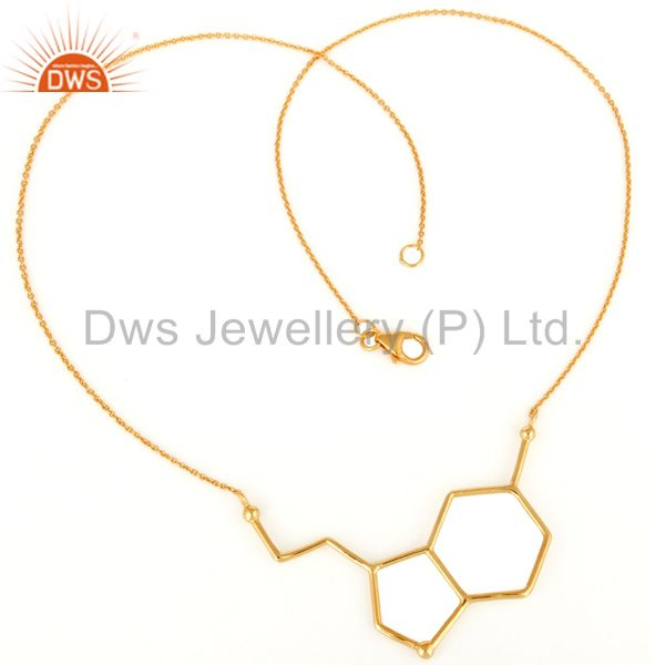 Exporter Handmade Solid Sterling Silver Designer Necklace With Yellow Gold Plated