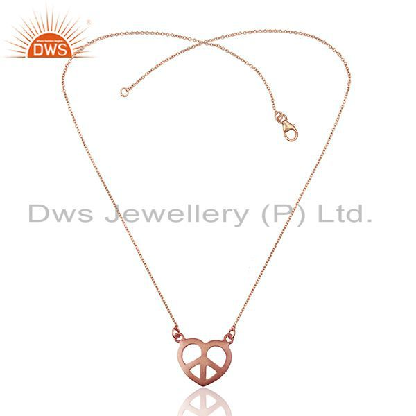 Exporter Rose Gold Plated 925 Silver Peace Charm Chain Pendant Manufacturer