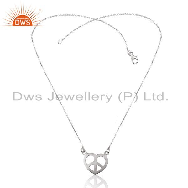 Exporter White Sterling Plain Silver Peace Charm Chain Pendant Manufacturers