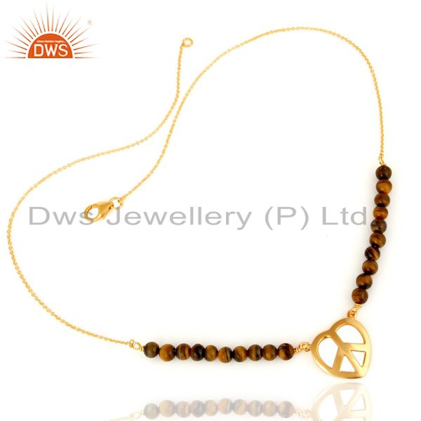 Exporter Gold Plated Sterling Silver Peace Sign Charm Natural Tiger Eye Beads Bracelet