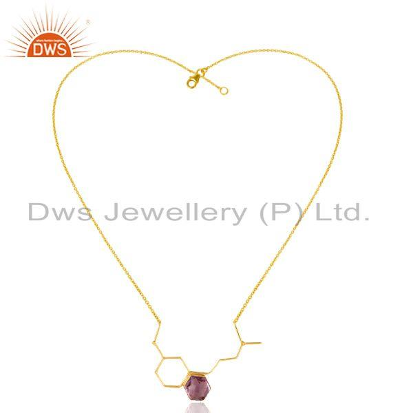 Wholesale 925 Sterling Silver Designer Amethyst Gemstone Necklace Jewelry - Gold Plated