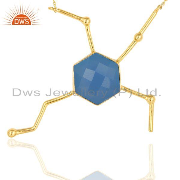 Exporter Faceted Dyed Blue Chalcedony Gemstone Sterling Silver Necklace - Gold Plated