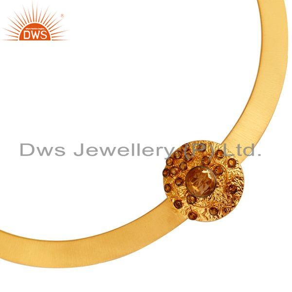 Exporter 18K Gold Plated Sterling Silver Citrine Gemstone Ladies Necklace