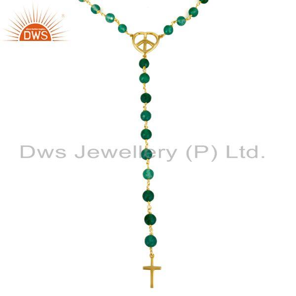 Exporter 18K Gold Plated Sterling Silver Green Onyx Beaded Peace & Cross Charms Necklace