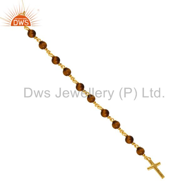 Exporter 18K Gold Plated Sterling Silver Tiger Eye Beaded Peace And Cross Charms Necklace