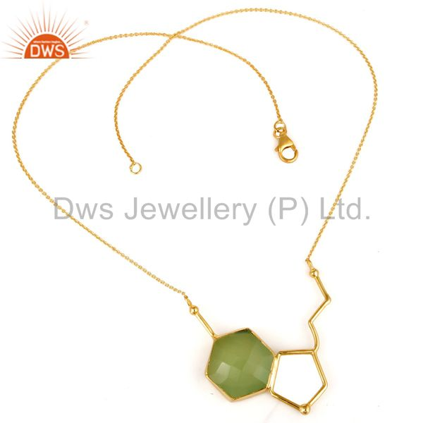 Exporter Dyed Prehnite Chalcedony Sterling Silver Necklace With Yellow Gold Plated