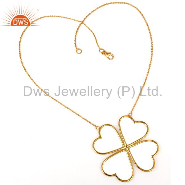 Exporter 14K Yellow Gold Plated Sterling Silver Heart Designer Chain Necklace