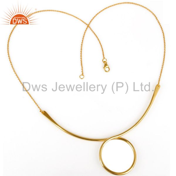 Exporter 14K Yellow Gold Plated Sterling Silver Circle Designer Chain Necklace