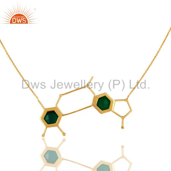 Exporter 14K Yellow Gold Plated Sterling Silver Green Onyx Designer Chain Necklace