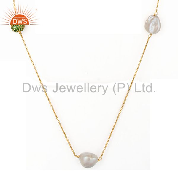 Exporter 18K Yellow Gold Plated Sterling Silver Green Cubic Zirconia And Pearl Necklace