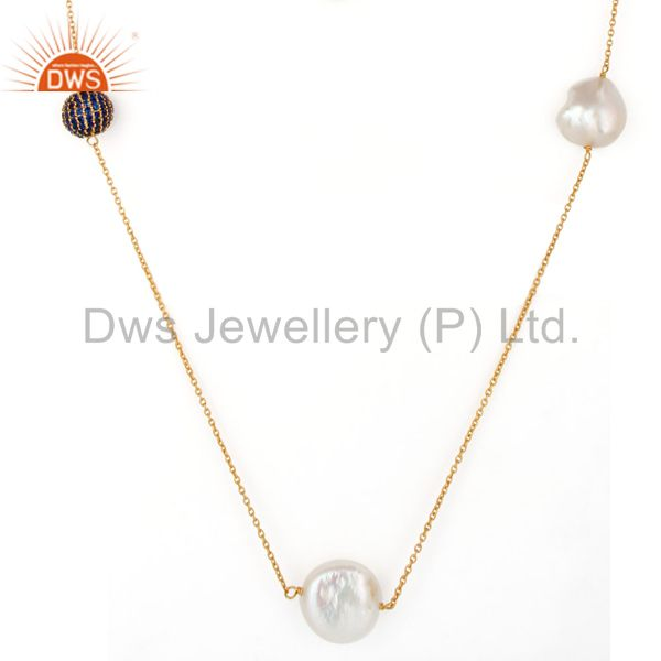 Exporter 18K Yellow Gold Plated Sterling Silver Blue Cubic Zirconia And Pearl Necklace