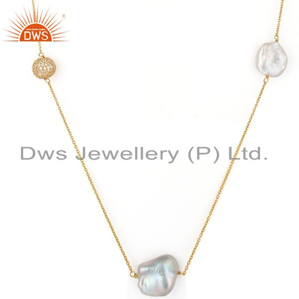Exporter 18K Gold Plated Sterling Silver White Cubic Zirconia & Pearl 30