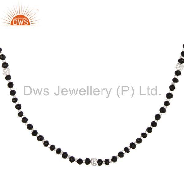 Exporter Handmade Solid 925 Sterling Silver Faceted Black Onyx Beads Chain Necklace
