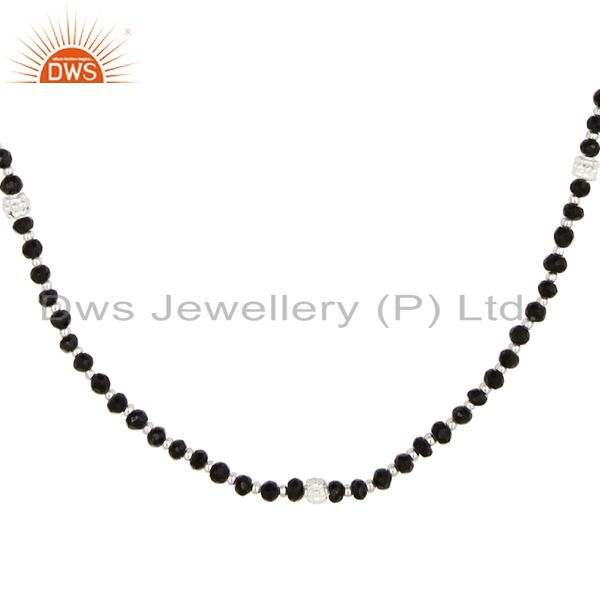 Exporter Handmade Solid 925 Sterling Silver Black Onyx Faceted Beads Chain Necklace