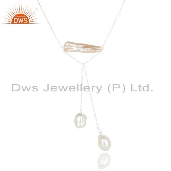 Suppliers Handmade Fresh Water Pearl & Pearl Chain Necklace Made In 925 Sterling Silver