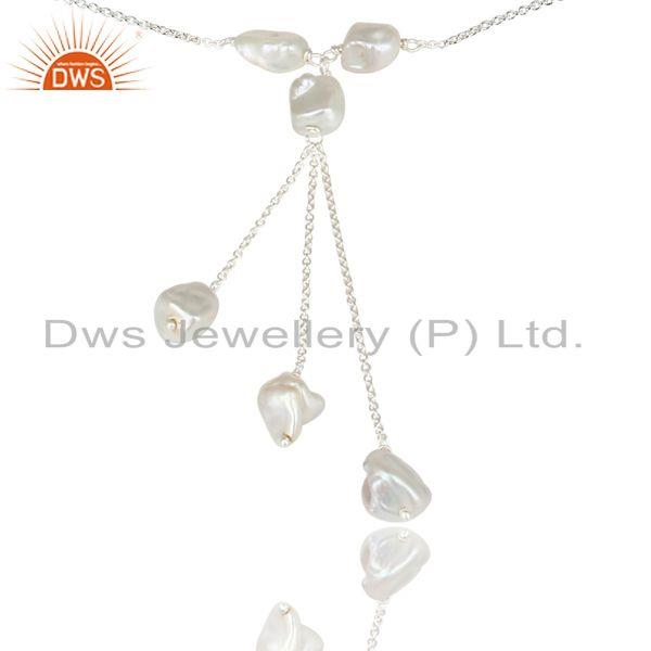 Suppliers Handmade Solid 925 Sterling Silver Fresh Water Pearl Chain Link Necklace Jewelry