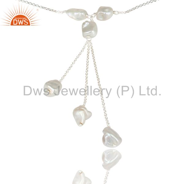 Exporter Handmade Solid 925 Sterling Silver Fresh Water Pearl Chain Link Necklace Jewelry