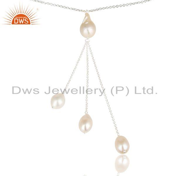 Suppliers Handmade Beautiful Pearl Beads Chain Drops Necklace Made In 925 Sterling Silver
