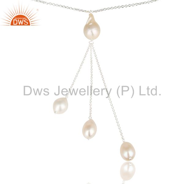 Exporter Handmade Beautiful Pearl Beads Chain Drops Necklace Made In 925 Sterling Silver