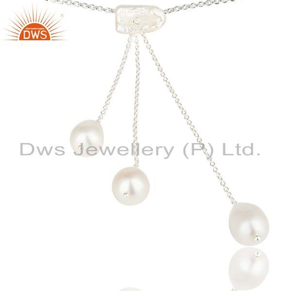 Suppliers Handmade Beautiful Pearl Chain Link Drops Necklace Made In 925 Sterling Silver