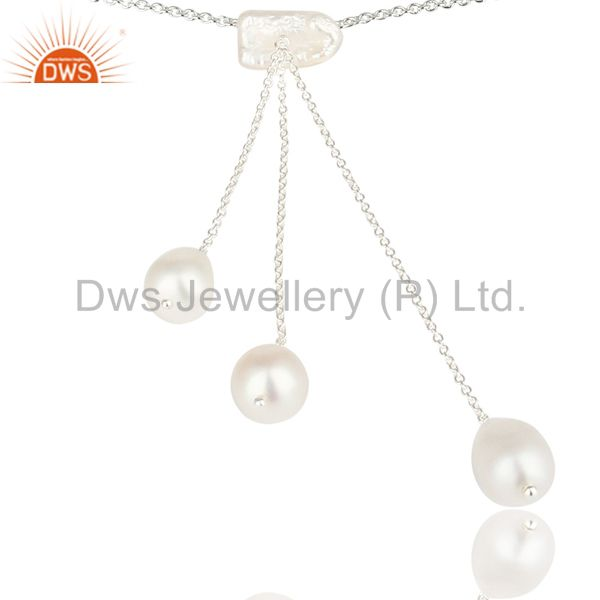 Exporter Handmade Beautiful Pearl Chain Link Drops Necklace Made In 925 Sterling Silver