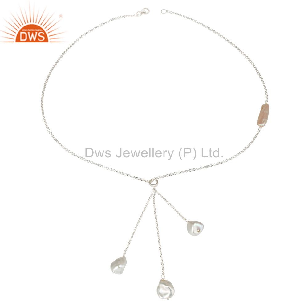 Exporter Beautiful Handmade Fresh Water Pearl Drops Chain Necklace Made In 925 Silver