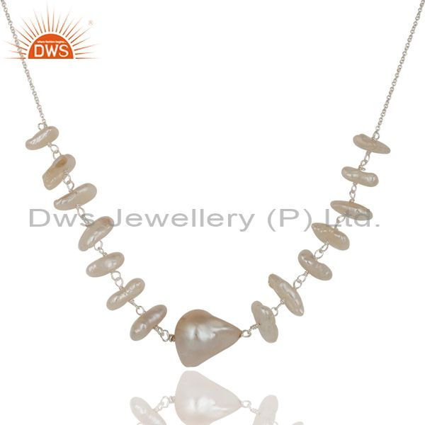 Suppliers Handmade Fresh Water Pearl 925 Sterling Silver 16 Inch Chain Necklace Jewelry