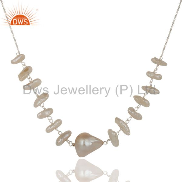 Exporter Handmade Fresh Water Pearl 925 Sterling Silver 16 Inch Chain Necklace Jewelry