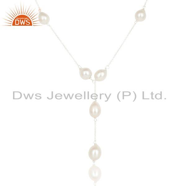 Suppliers Beautiful Handmade 925 Sterling Silver Round Pearl Beads Chain Necklace Jewelry