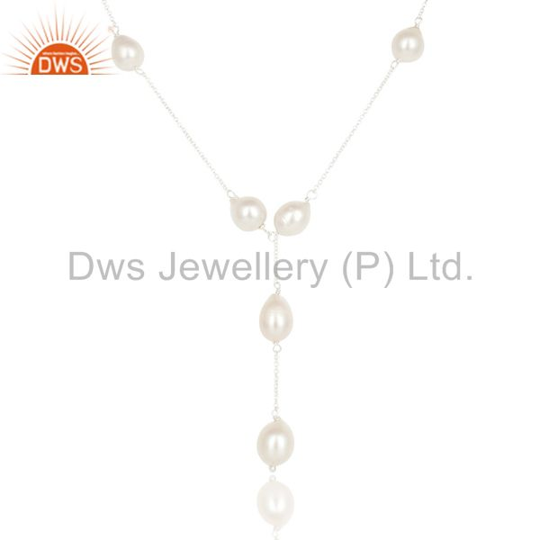 Exporter Beautiful Handmade 925 Sterling Silver Round Pearl Beads Chain Necklace Jewelry