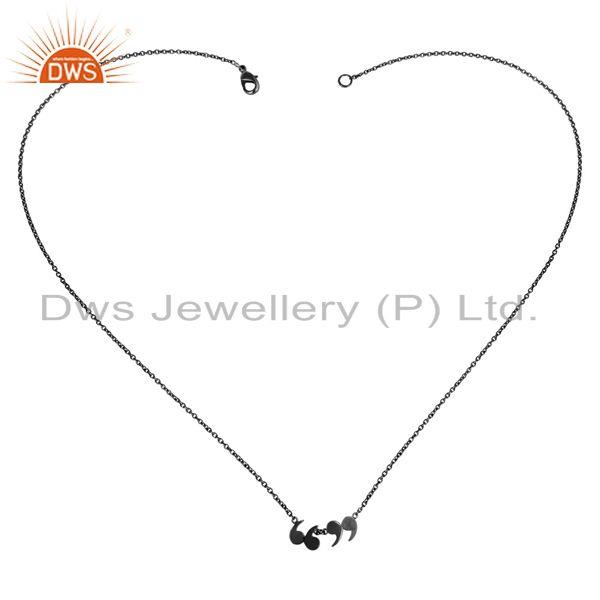 Exporter Black Oxidized 925 Sterling Silver Handmade Art Fashion Chain Pendant Necklace