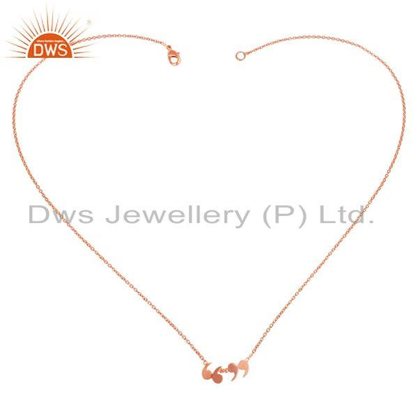 Exporter 14K Rose Gold Plated 925 Silver Handmade Art Fashion Chain Pendant Necklace