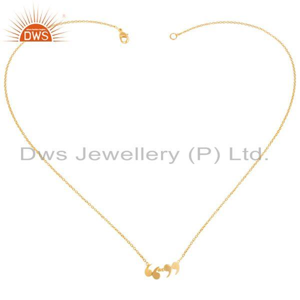 Exporter 14K Gold Plated 925 Sterling Silver Handmade Art Fashion Chain Pendant Necklace