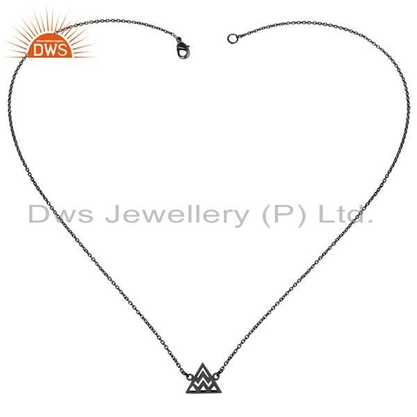 Exporter Black Oxidized 925 Sterling Silver Handmade Art Trillion Style Chain Necklace