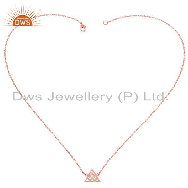 Exporter 14K Rose Gold Plated Sterling Silver Handmade Art Trillion Style Chain Necklace